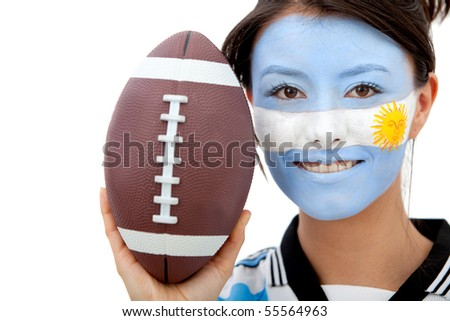 Portrait of female Argentinean rugby fan with painted face - isolated over white - stock photo
