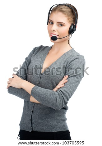 Portrait of female call center employee with crossed arms wearing a headset, against white background - stock photo
