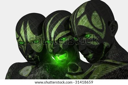 portrait of 3 female cyborgs - stock photo