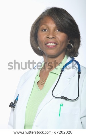 Portrait of female doctor - stock photo