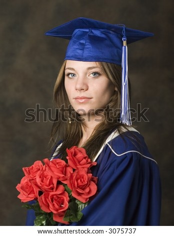 Portrait of female highschool graduate - stock photo