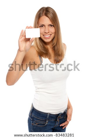 Portrait of female holding credit card over white background - stock photo