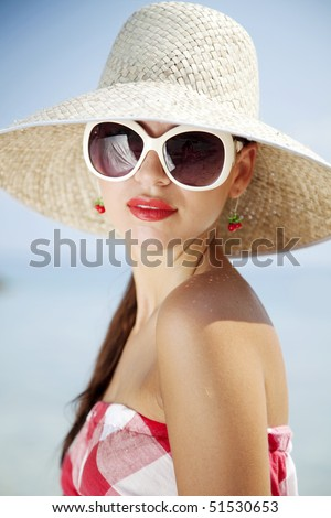 portrait of female in 50s summer outfit - stock photo