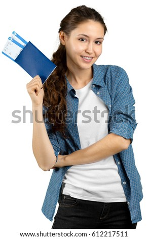 portrait of female tourist handing airline ticket, isolated on white