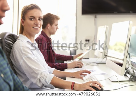 Portrait Of Female University Student Using Online Resources
