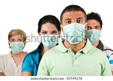 Portrait of few people group standing straight and wearing protective mask trying to protect them from flu epidemy - stock photo