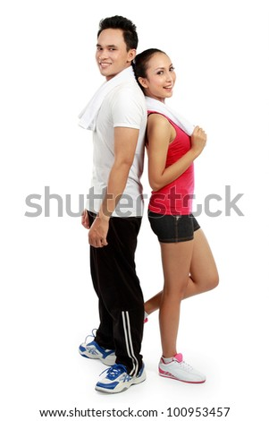 portrait of Fitness. Smiling young man and woman. Isolated over white background