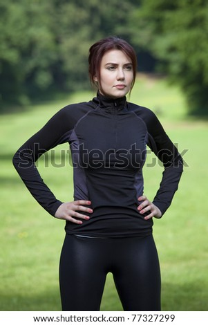 portrait of fitness woman outdoor - stock photo