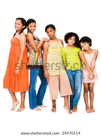 Portrait of five friends standing together isolated over white - stock photo
