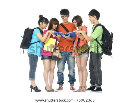 Portrait of five students with notebooks and paper folders posing - stock photo
