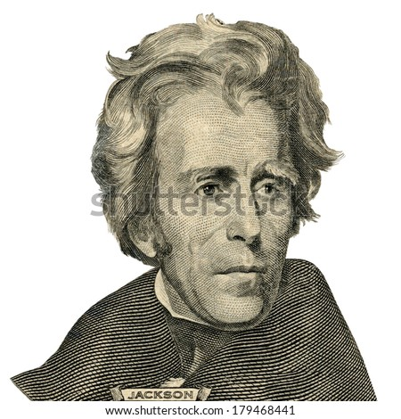 Portrait of former U.S. president Andrew Jackson as he looks on twenty dollar bill obverse. Clipping path included. - stock photo