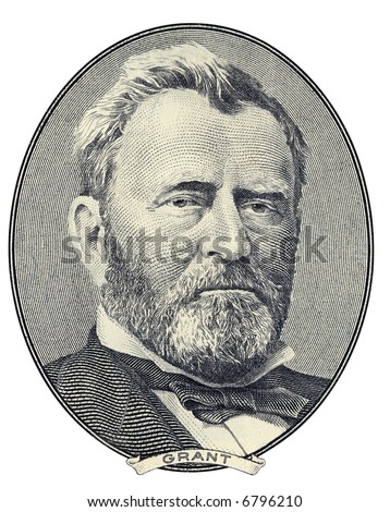 Portrait of former U.S. president Ulysses S. Grant as he looks on fifty dollar bill obverse. Clipping path included. - stock photo