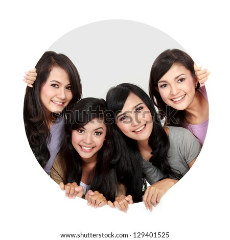 portrait of four asian woman in circle - stock photo