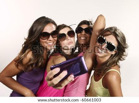 portrait of four friends - stock photo