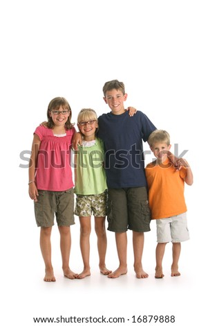 Portrait of four kids isolated on white background - stock photo