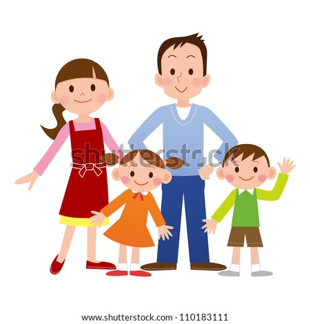 Portrait of four member family posing together smiling happy - stock photo