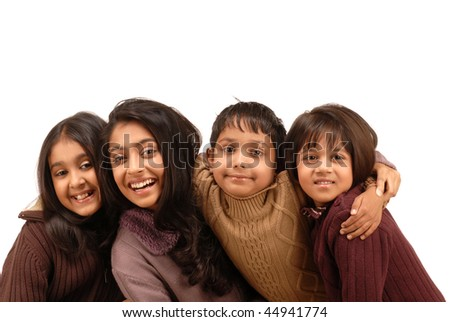 portrait of fours kids isolated on white background