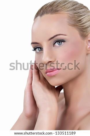 Portrait of Fresh and Beautiful blond woman - stock photo