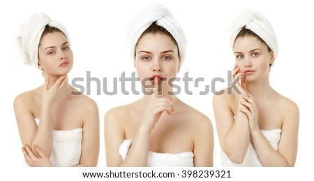 Portrait of Fresh and Beautiful brunette woman wearing white towel on her head, isolated on white background - stock photo