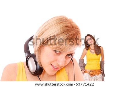 Portrait of Fresh and Beautiful sexy young woman with headphones and friend on background
