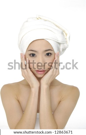 Portrait of Fresh and Beautiful woman wearing white towel on her head - stock photo