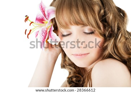 Portrait of fresh woman with flower over white - stock photo