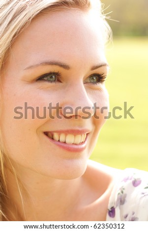 Portrait of fresh young woman - stock photo