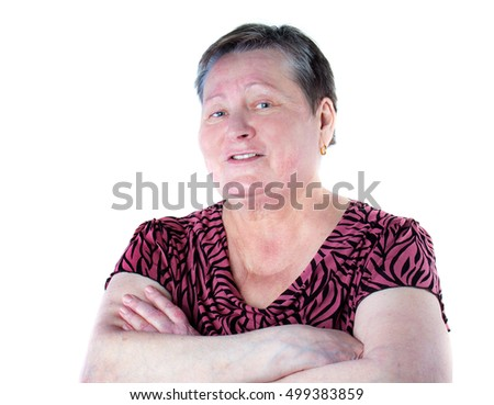 Portrait of friendly and talking senior woman in photo studio isolated on white background, psoriasis on right elbow, without make-up