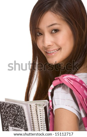 Portrait of friendly Asian High school girl student with backpack, holding notebooks and composition book - stock photo