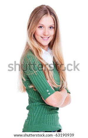 portrait of friendly blonde with long hair over white background - stock photo