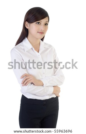 Portrait of friendly business woman standing and thinking against white background. - stock photo
