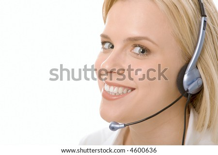 Portrait of friendly customer service operator smiling with charming confident smile
