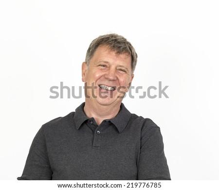 portrait of friendly smiling man - stock photo