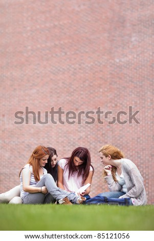 Portrait of friends reading a book while sitting on the lawn - stock photo