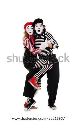 portrait of frightened mimes. isolated on white background - stock photo