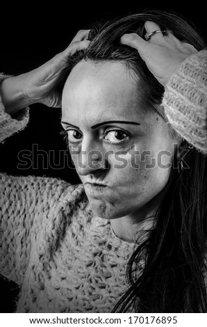 portrait of frustrated, angry woman, black and white portrait
