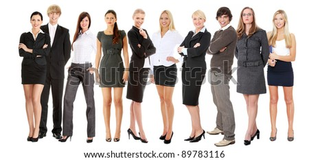 Portrait of full lengh successful young businesspeople smiling to the camera, isolated on white.