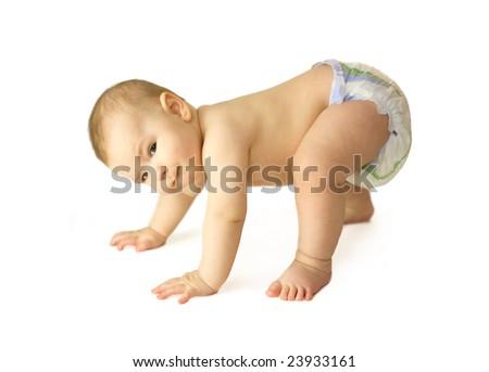 portrait of funny baby creeping - stock photo
