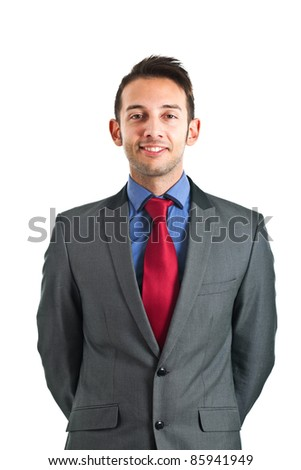 Portrait of funny businessman isolated on white - stock photo