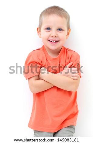 Portrait of funny little boy - stock photo