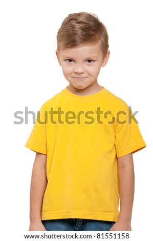 Portrait of funny little boy over white background - stock photo