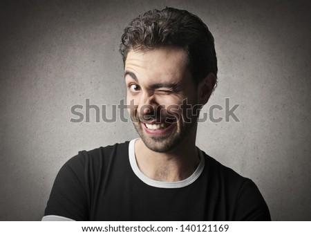 portrait of funny man - stock photo