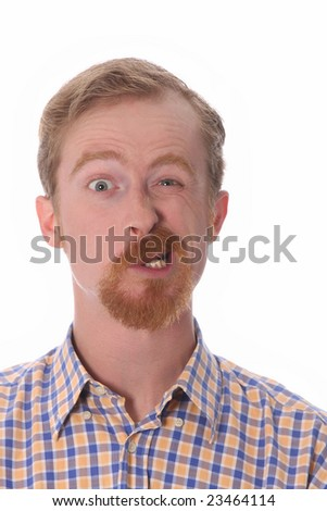 Portrait of funny man on white background