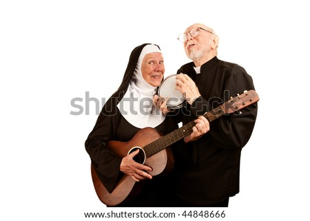 Portrait of funny musical priest and nun with instruments