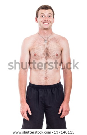 Portrait of funny shirtless man with toothy smile, isolated on white background - stock photo