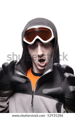 Portrait of funny snowboarder with orange glasses isolated on white