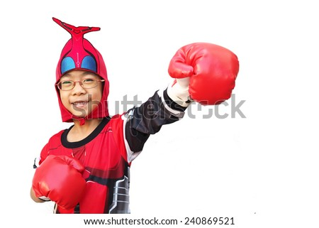 portrait of funny young kid with boxing glove  - stock photo