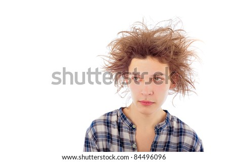 Portrait of funny young man with awesome hairdo isolated on white background