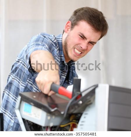 Man Mad At Computer