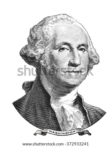 Portrait of George Washington isolated on white background